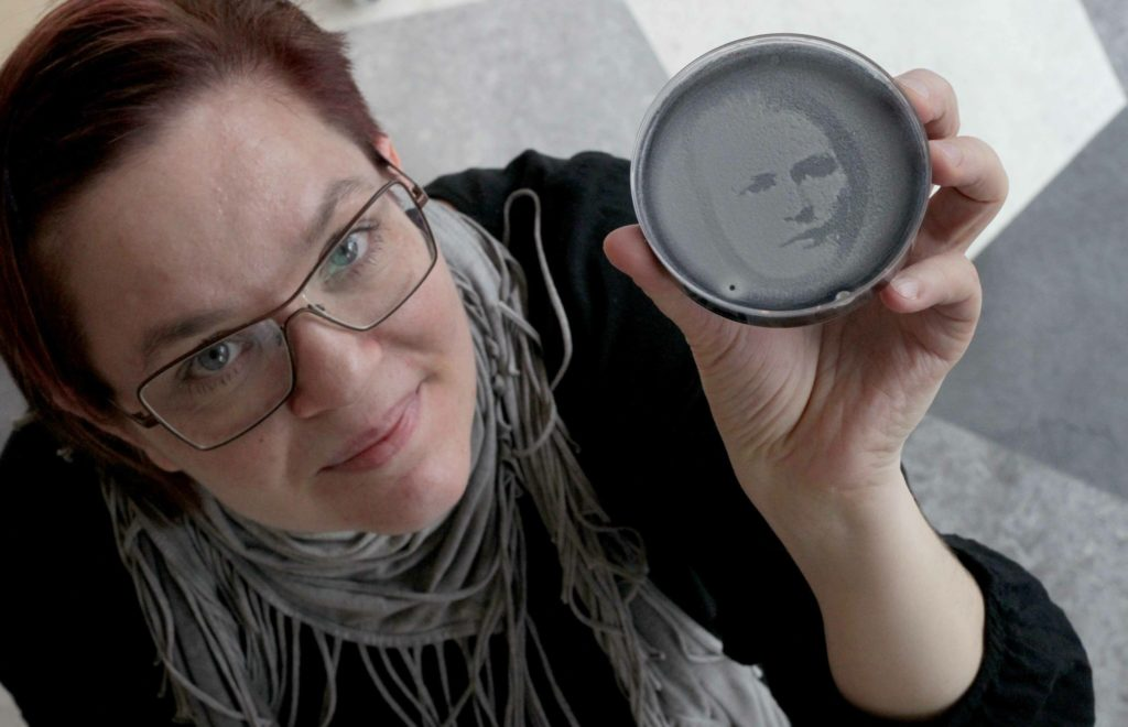 NO REPRO FEE 14/3/2019 OPEN LABS, the latest free exhibition at Science Gallery at Trinity College Dublin, showcases a DIY culture across science, technology and activism where a lab can be set up in the kitchen, the forest, the bedroom or the street. Pictured is Johanna Rotko from Finland with her work, 'Living Images' created by Yeast-o-grams, which is yeast cells cultivated under an Ultraviolet  LED lamp forming portrait photographs in petri dishes. OPEN LABS is running until the 2nd of June. PHOTO: Mark Stedman